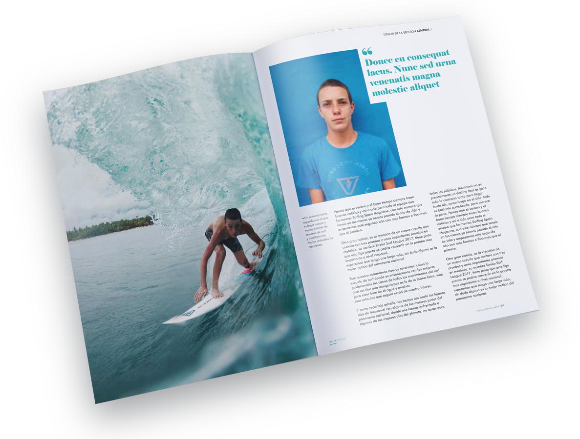diseño editorial interior de revista surfing spain magazine freelance alicante