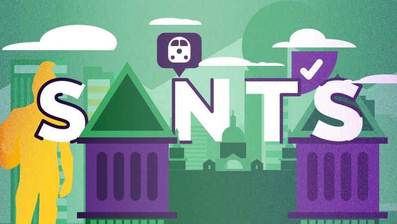 diseño de ilustracion para ilustrar post sobre el barrio de sants para kasaz portal inmobiliario diseño grafico