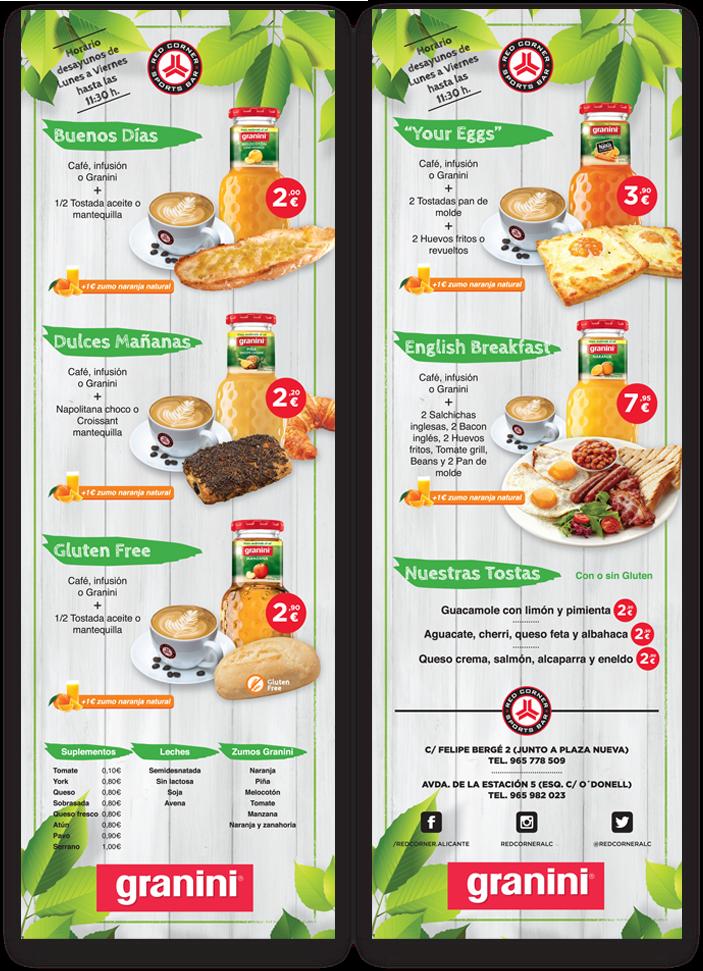 diseño gráfico cartas de desayunos red corner alicante diseño gráfico freelance alicante
