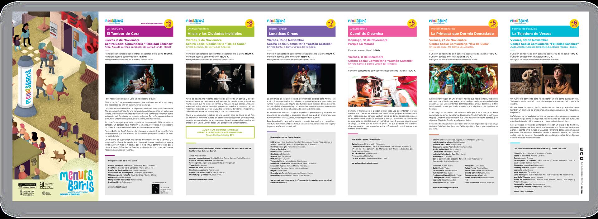 diseño grafico folleto menuts barris concejalia de cultura ayuntamiento de alicante diseñador grafico freelance alicante
