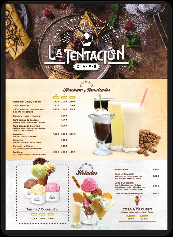 diseño grafico carta de heladeria cafeteria en san juan alicante la tentación freelance