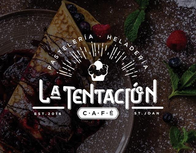 Diseño de Logotipo, Diseño Gráfico y Decoración LA TENTACION CAFETERÍA San Juan de alicante