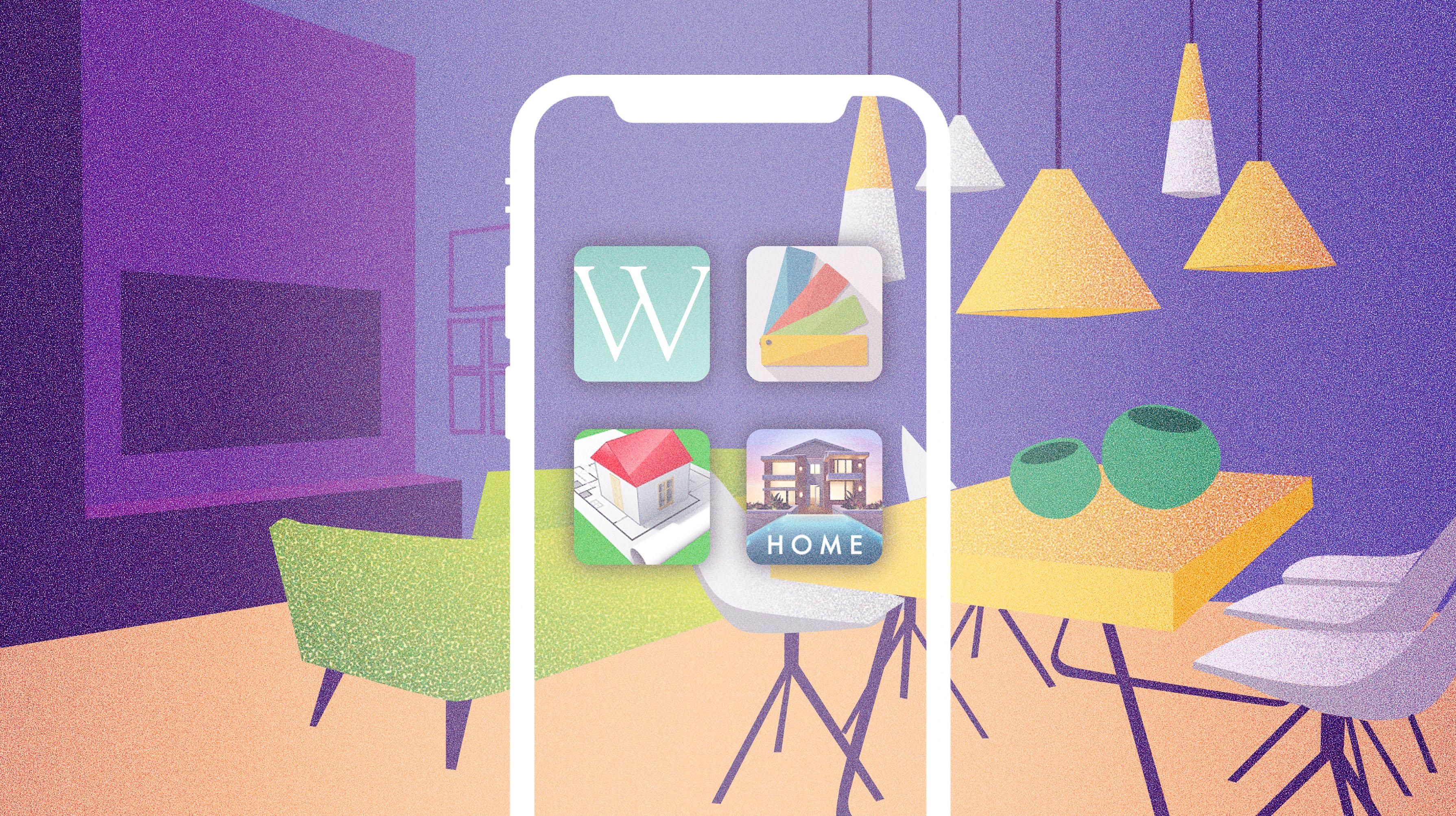 diseño de ilustracion para ilustrar post sobre aplicaciones de decoración para moviles y tablets kasaz portal inmobiliario diseño grafico