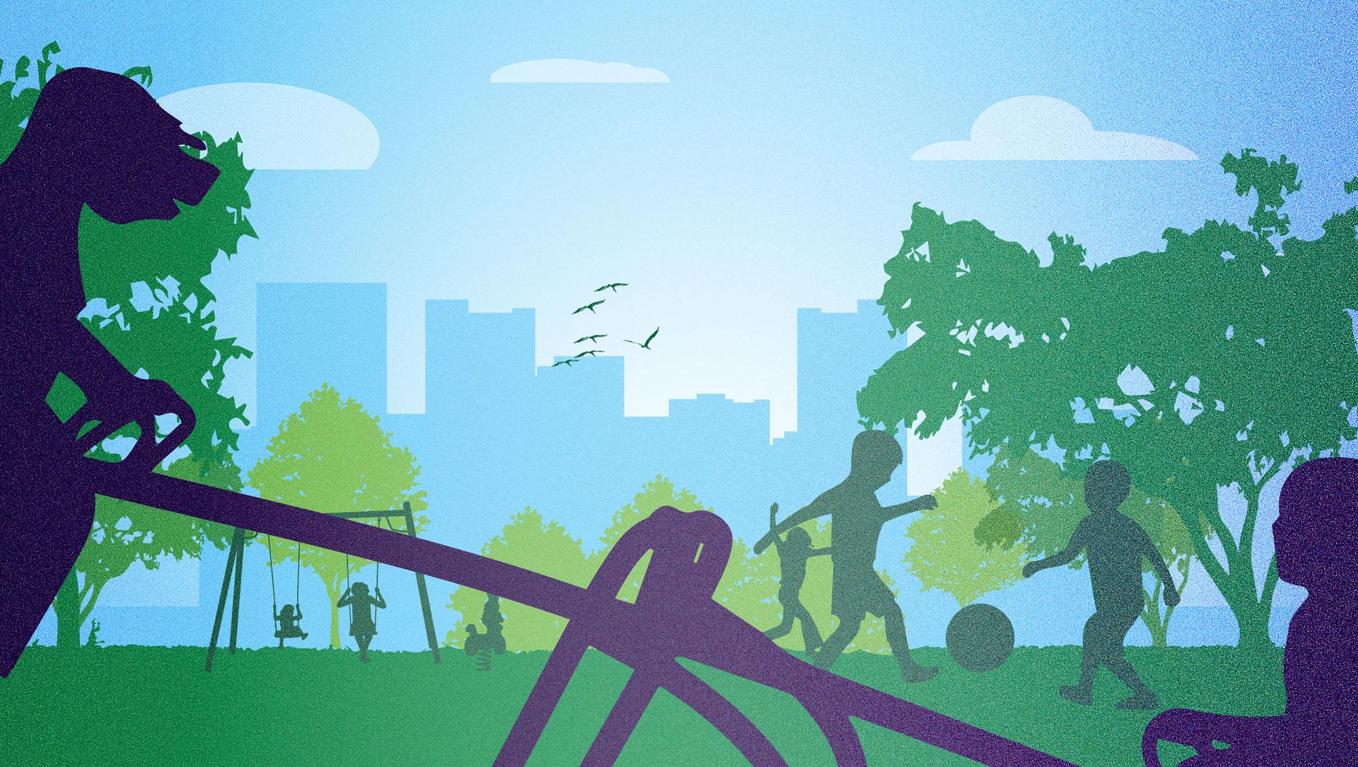 diseño de ilustracion para ilustrar post sobre mejores barrios para vivir con niños kasaz portal inmobiliario diseño grafico