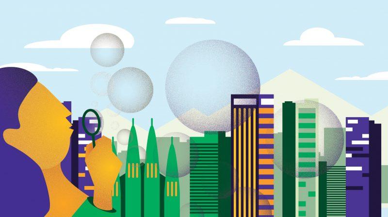 diseño de ilustracion para ilustrar post sobre la nueva burbuja inmobiliaria para kasaz portal inmobiliario diseño grafico
