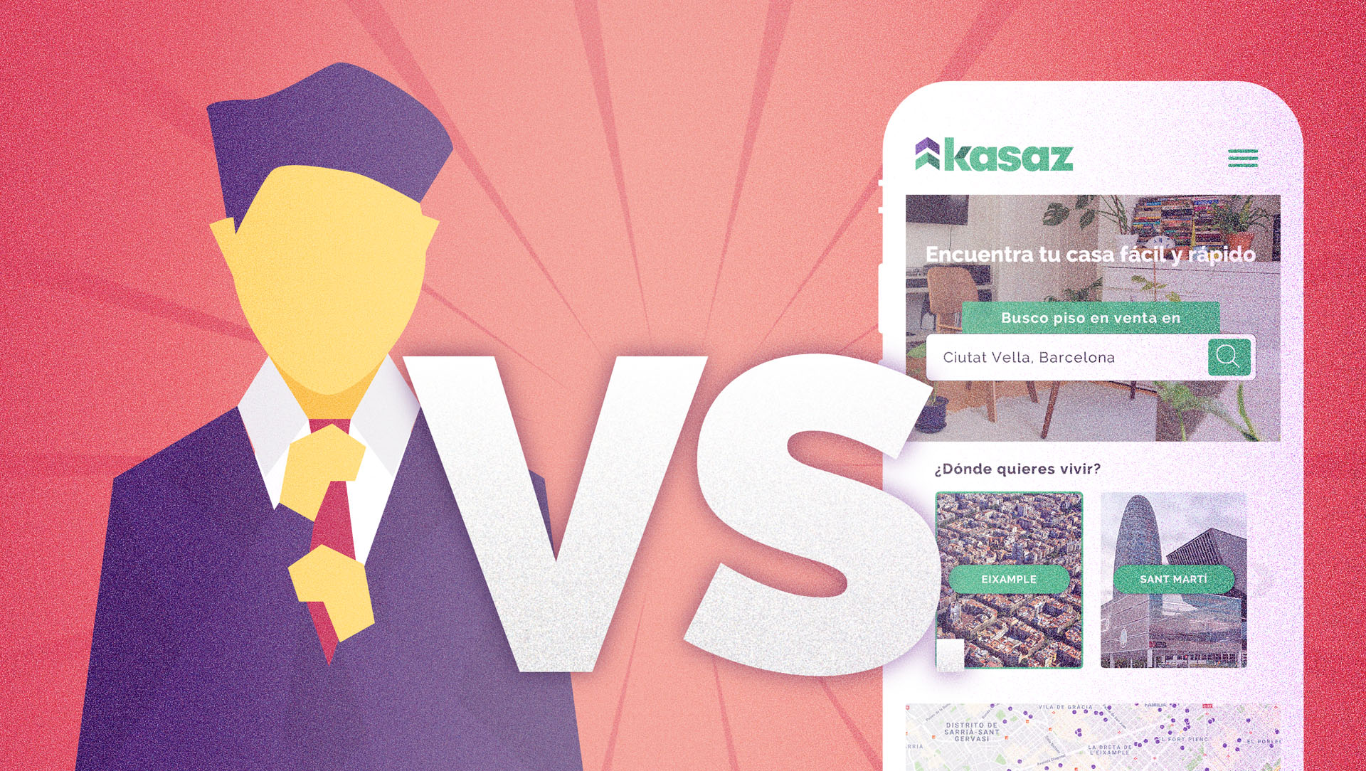 diseño de ilustracion para ilustrar post sobre las diferencias entre portales inmobiliarios e inmobiliarias tradicionales kasaz portal inmobiliario diseño grafico
