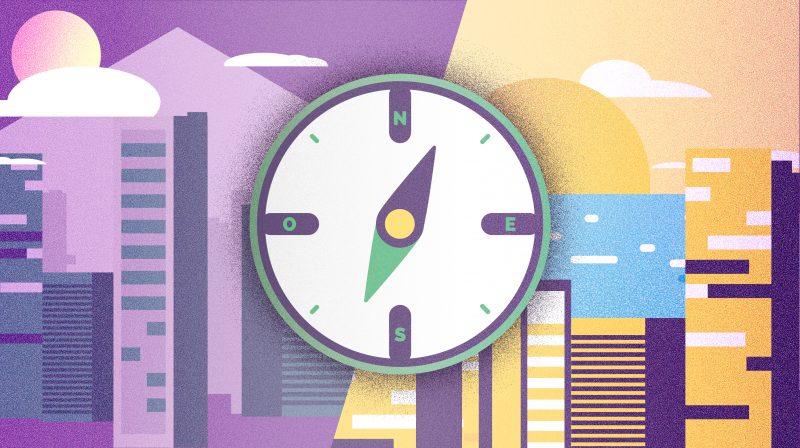 diseño de ilustracion para ilustrar post sobre eleccion de orientacion de piso para kasaz portal inmobiliario diseño grafico