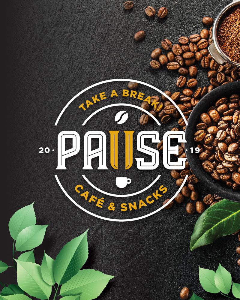 diseño de logotipo y cartas cafetería pause alicante, diseño grafico freelance alicante